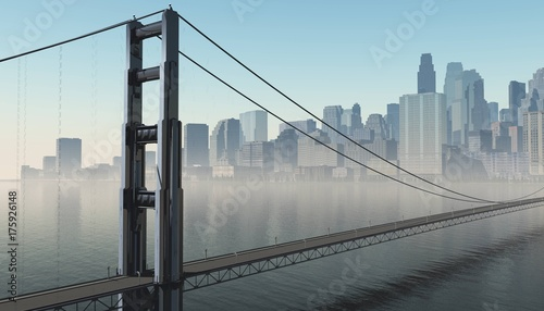 Wall mural modern city with a bridge across the bay, a bridge at sunrise in the background of the city, 3d rendering