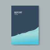 Business report cover template with elegant blue background with simple line graph. - 175929982