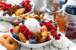 bowl with sweets and berries