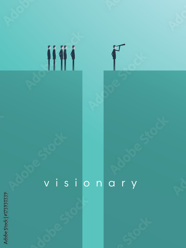 Fridge magnet Business vision, strategy, success, leadership vector concept with businessman standing in front of team on the other side of gap with telescope.