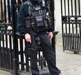 Armed policeman London.