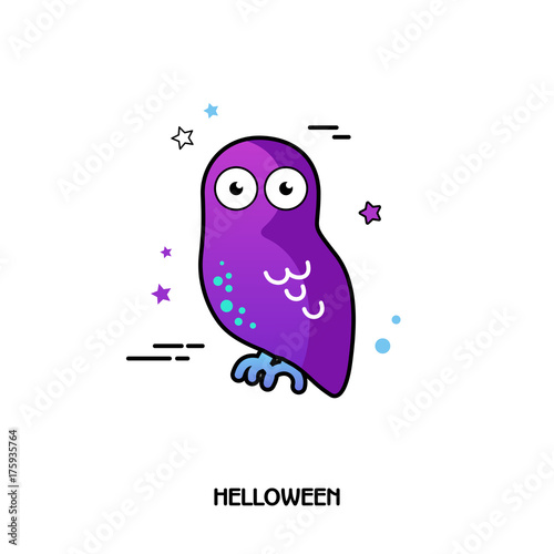 Keuken foto achterwand Uilen cartoon Owl vector icon. Halloween sticker
