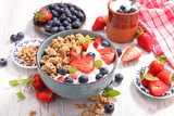 healthy breakfast with muesli and berry - 175936391