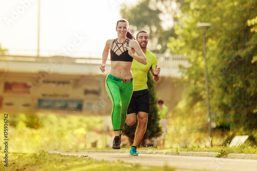 Deurstickers Jogging Happy Couple Exercising