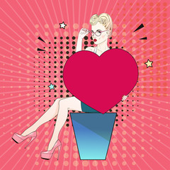 Comic Pop art blonde hair woman in pink labutenes sits and holds a red heart and her glasses. Vector illustration.