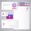 Magnet logo. M letter. Industrial work Identity. Corporate style, envelope, letterhead, business card, pens.