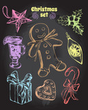 Set of Christmas attributes: Christmas decorations, gingerbread man, gift box, holly, candy, gingerbread, mulled wine. Hand drawn vector Illustration. - 175942183