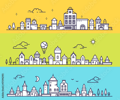 In de dag Turkoois Vector illustration of three different city landscape on color background. Urban european city with tree, cloud, air balloon