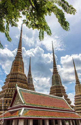 Fotobehang Thailand Pagodas at Wat Pho(Wat Phra Chetuphon Vimolmangklararm Rajwaramahaviharn) is the one of a famous Buddhist temple in Bangkok, Thailand