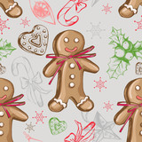 Seamless decorative pattern with Christmas and New Year's attributes. Hand drawn elements. Good for design wrapping paper. - 175943573