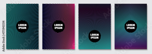 Cover design template. Vector minimal abstract background with gradient lines. Flyer, poster, brochure design. A4 size. - 175943514