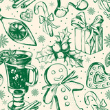 Seamless decorative pattern with Christmas and New Year's attributes. Hand drawn elements. Good for design wrapping paper. - 175943736