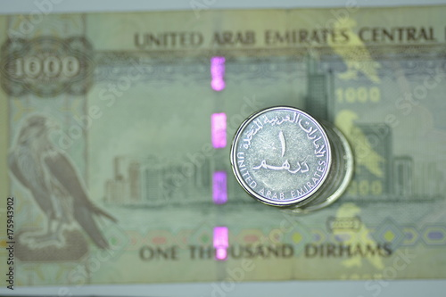 Deurstickers Abu Dhabi Close up Banknote and Currency Bills and Coins