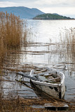 Traditional wooden boat at the Prespes lakes, Greece - 175945365