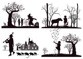 Märchen, Hänsel und Gretel, Rotkäppchen, Sterntaler, Rattenfänger