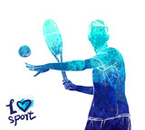 Bright watercolor silhouette of tennis player. Vector sport illustration. Graphic figure of the athlete. Active people. Recreation lifestyle. Logo I love sport. - 175946904