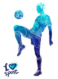 Bright watercolor silhouette of soccer player with ball. Vector sport illustration. Graphic figure of the athlete. Active people. Recreation lifestyle. Logo I love sport. - 175946938