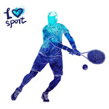 Bright watercolor silhouette of tennis player. Vector sport illustration. Graphic figure of the athlete. Active people. Recreation lifestyle. Logo I love sport. - 175946972