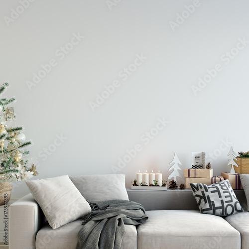 mock up wall Christmas interior. Scandinavian style. Wall art. 3d rendering, 3d illustration
