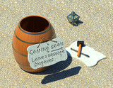 Messaging technology Diogenes times 3D illustration. Marble gravel background. Collection. - 175947507