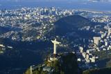 Aerial photo of Rio de Janeiro with Christ Redeemer on Corcovado mountain