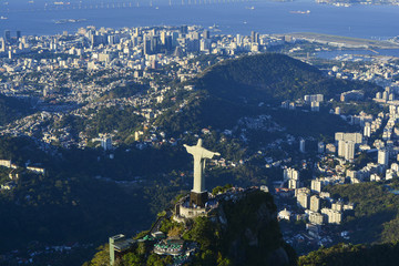 Aerial photo of Rio de Janeiro with Christ Redeemer on Corcovado mountain © phaelshoots