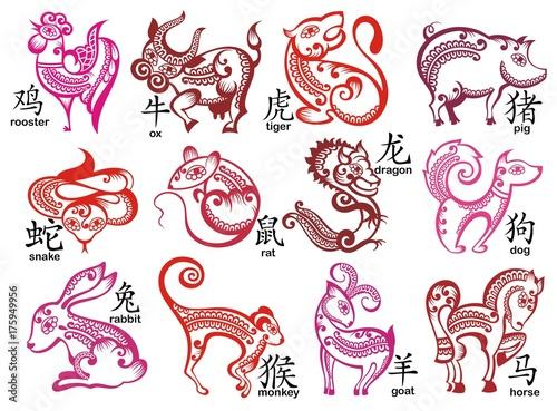 Chinese zodiac signs design set