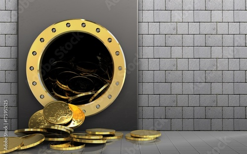 3d coins over white stones