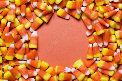 Halloween candy corn sweet background with copy space - 175951973
