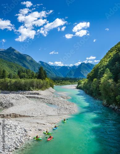 Fotobehang Bergrivier Soca river in Bovec, Julian alps Slovenia