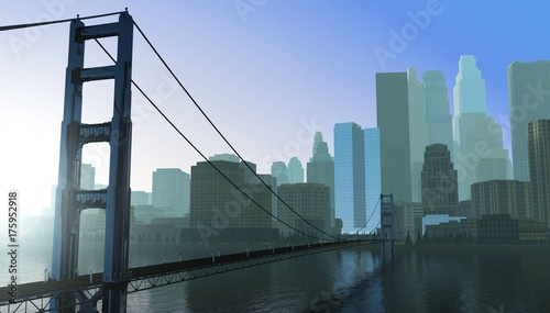 Poster modern city with a bridge across the bay, a bridge at sunrise in the background of the city, 3d rendering