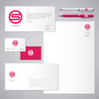 S logo. S red letter monogram and Identity. Corporate style, envelope, letterhead, business card, pens.