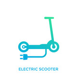kick scooter, electric transport icon on white