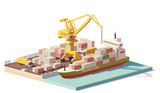 Vector low poly port container terminal and ship - 175956700
