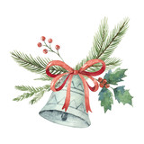 Watercolor Christmas vector bouquet with bell and fir branches. - 175958513