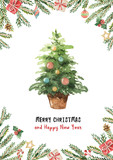 Watercolor vector greeting card with Christmas tree, spruce branches and gifts. - 175958554