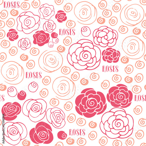 hand drawn roses floral seamless pattern
