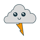kawaii cloud and thunder icon over white background vector illustration - 175960318