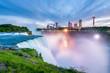 Niagara Falls around Sunset, captured in New York USA looking towards Ontario Canada
