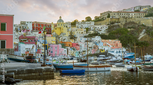 Campania - Panorama of Corricella village on Procida Island, Italy