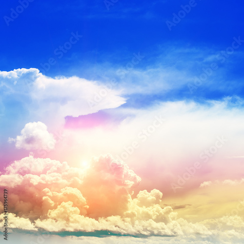 Canvas Donkerblauw Sky colors air clouds