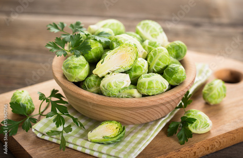 Foto op Canvas Brussel Fresh Brussel sprouts in the bowl