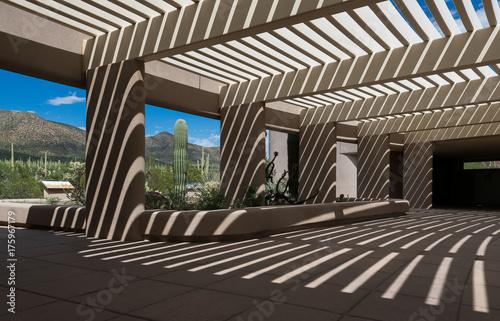 Aluminium Arizona Shadows at the Red Hills Visitor Center in Saguaro National Park near Tucson, Arizona
