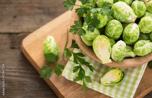 Fotobehang Brussel Fresh Brussel sprouts in the bowl