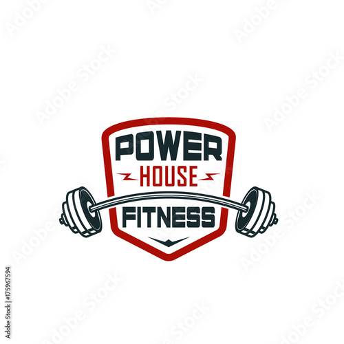 Barbell gym fitness bodybuilding club vector icon