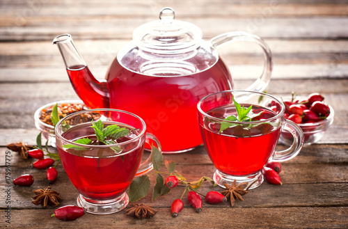Hot and healthy rose hip tea