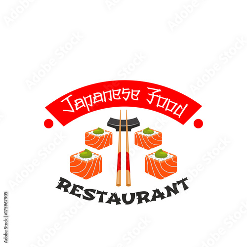 Japanese cuisine sushi bar vector icon