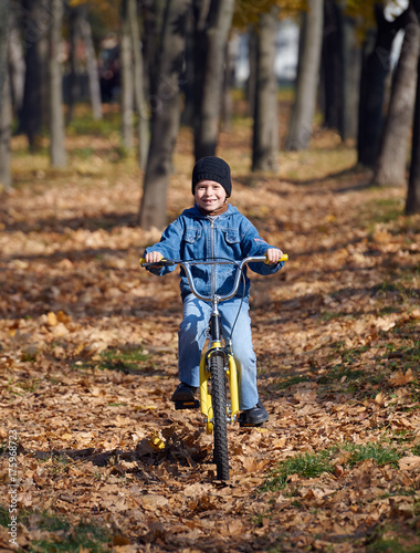 boy riding on Bicycle in autumn Park, bright sunny day, fallen leaves on backgro Poster