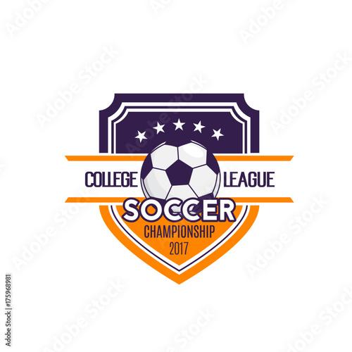 Soccer football college league badge vector icon