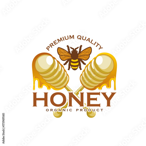 Honey bee and dipping stick product vector icon